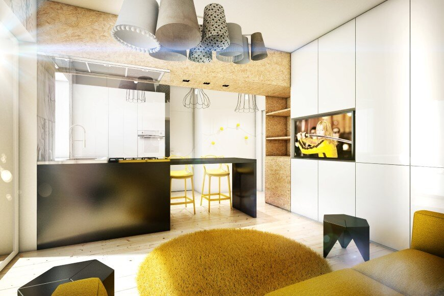 Yellow Touch Apartment 25 sqm yellow-black contrast in Rome (4)