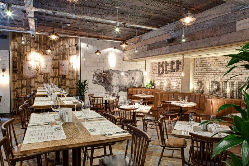 DV8 Designs has created a true rustic feel in Beef and Pudding restaurant