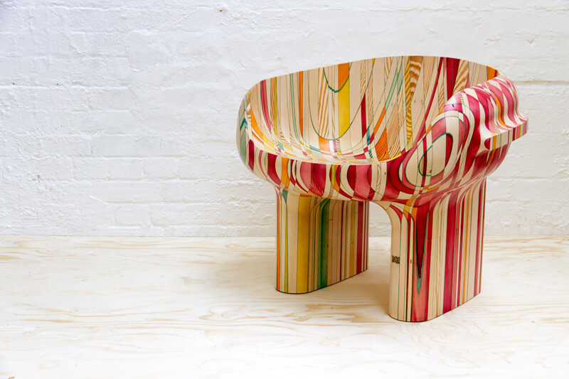 End-grain - furniture made of dye-soaked pieces of timber (2)