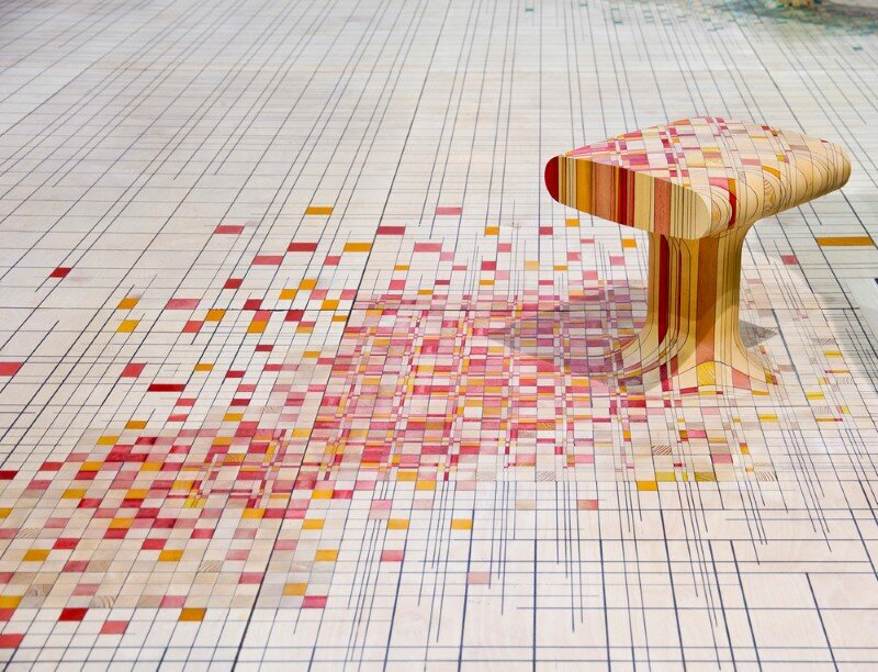 Endgrain - furniture made of dye-soaked pieces of timber (5)