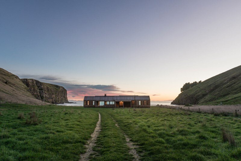 Farm house designed as the centerpiece of a surf beach
