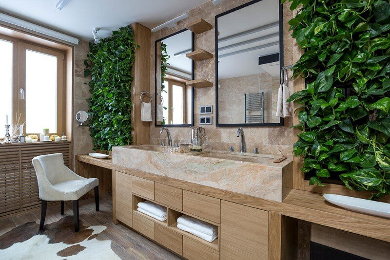 Ecodesign that integrates fitomuduli with live plants - bathroom interior design (1)