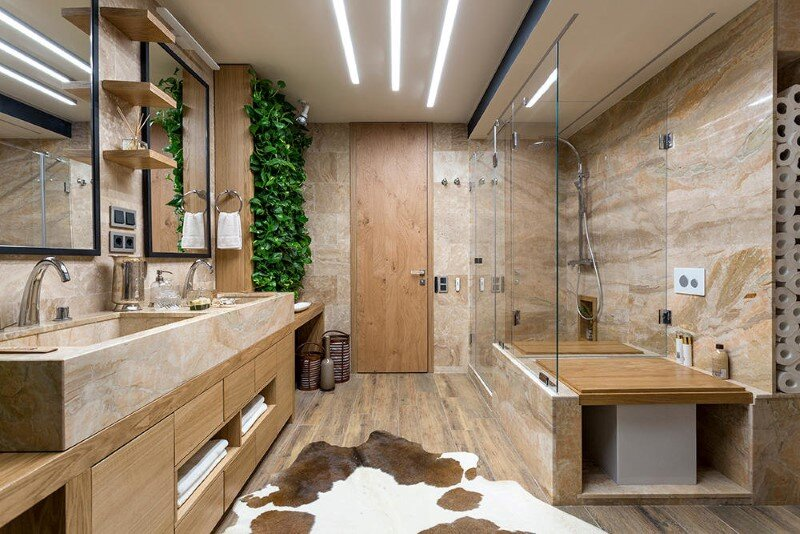 Bathroom Eco Design With Small Vertical Gardens