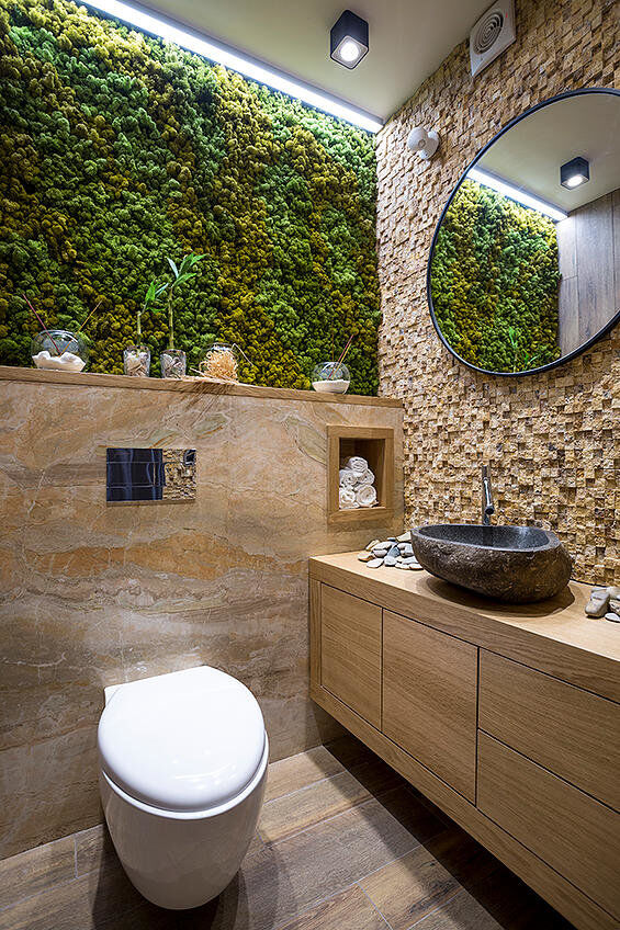 Home Interior Design Ideas: Bathroom Eco-design With Small Vertical Gardens