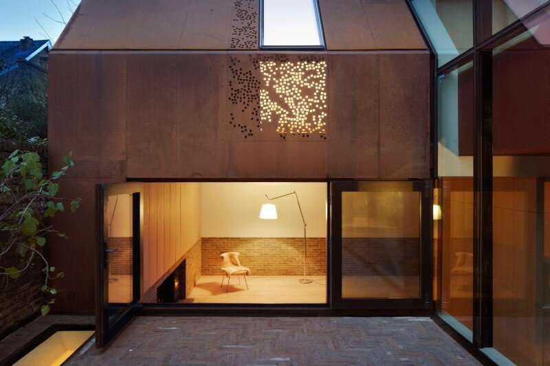 Kew House - family home formed of two sculptural volumes of weathering steel (3)