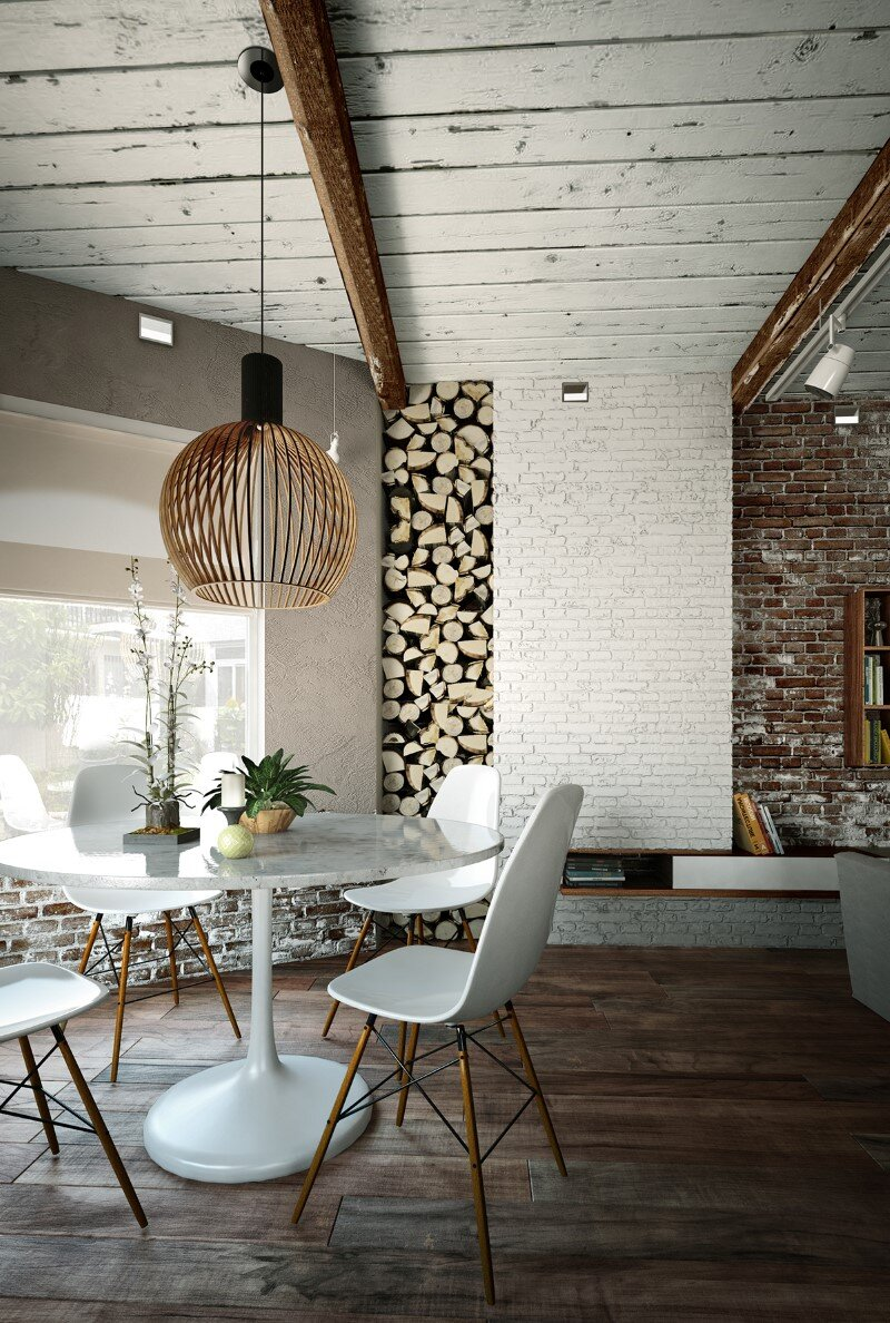 Loft project by Galina Lavrishcheva - combination of styles - rustic and modern (1)