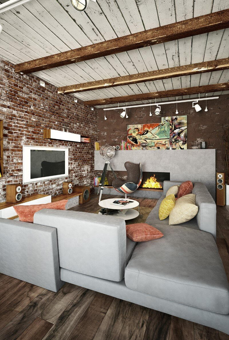 Loft project by Galina Lavrishcheva - combination of styles - rustic and modern (10)