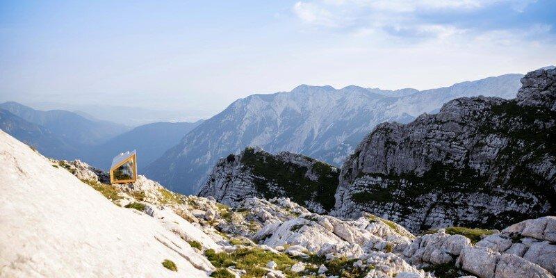 Mountain shelter on the highest peak in Slovenia