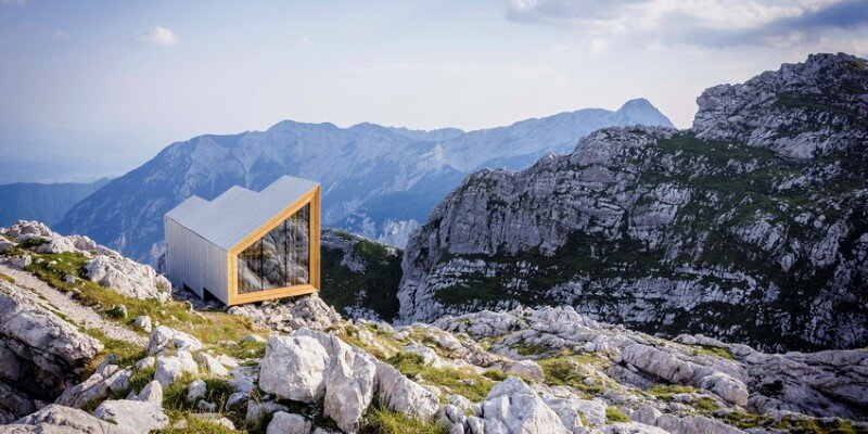 Mountain shelter on the highest peak in Slovenia
