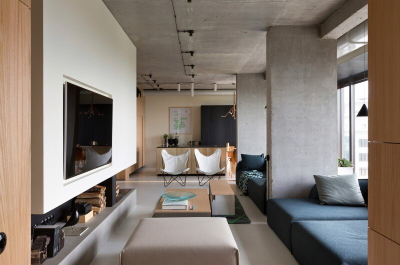 Penthouse with concrete ceiling and a glass-wall windows (11)