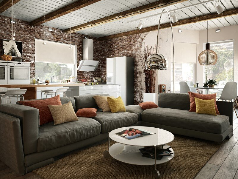 Project interiors of the private house by Galina Lavrishcheva - combination of styles - rustic and modern (3)