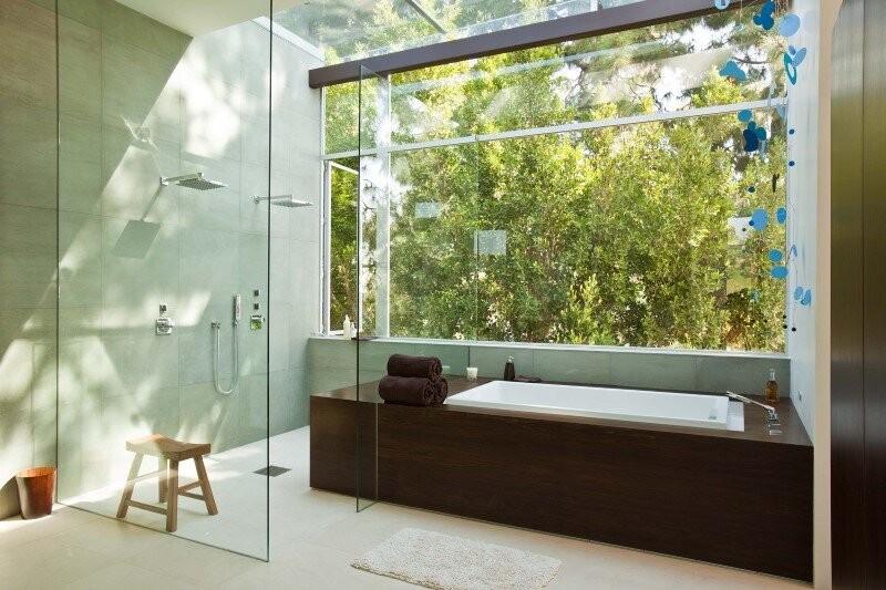Sunset plaza residence modernist forms with dramatic for Sunset bathroom designs