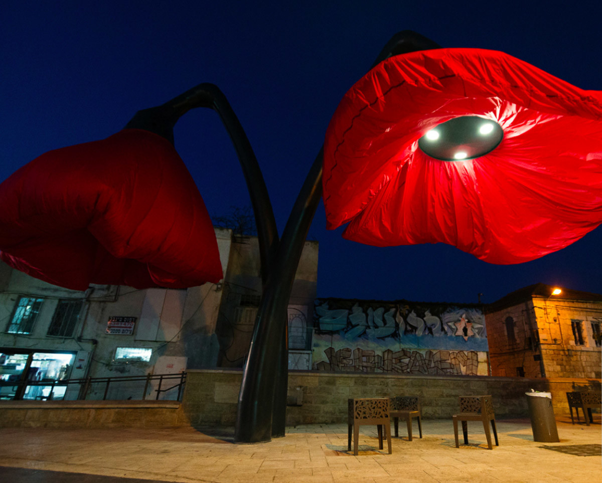 Dynamic Street Installation in Vallero Square in Jerusalem Giant Urban Flowers (2)