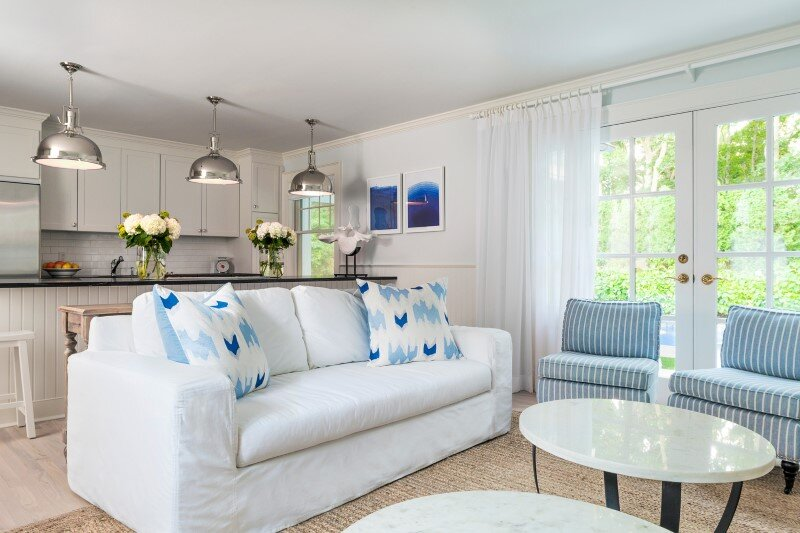 East Hampton Beach Cottage –  homely home transformed into a buoyant and sparkling oasis