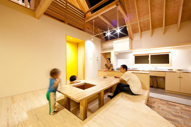 Kawagoe House is a Spacious Room Under a Large Gabled Roof