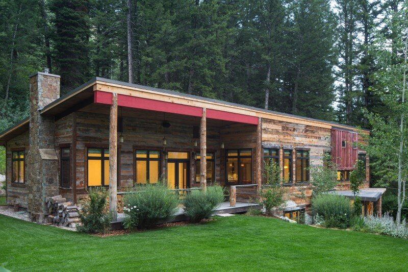 Modern farmhouse in the woods old pass road retreat wyoming for Modern rustic farmhouse plans