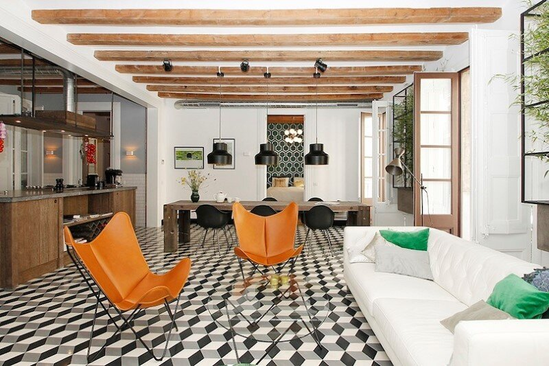 Refurbished apartment in Barcelona with emphasizing the authentic Spanish features