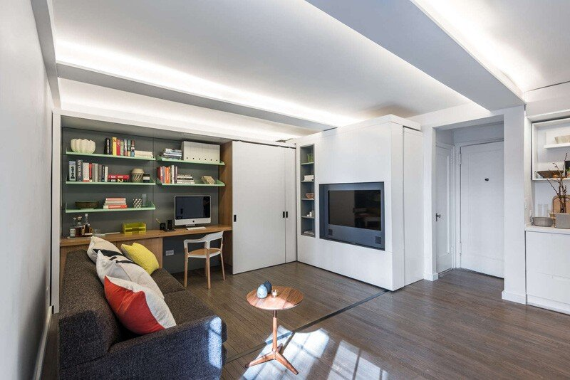This apartment uses a mechanized moving wall to form different areas (1)