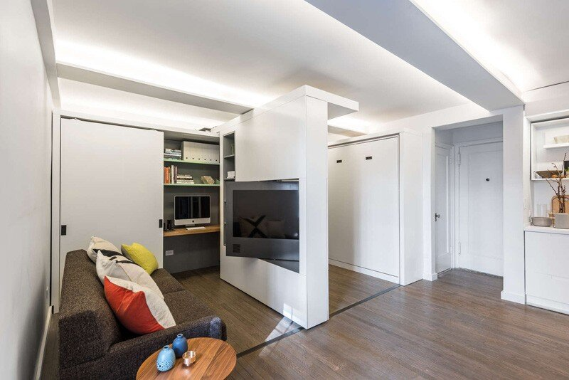 This apartment uses a mechanized moving wall to form different areas (2)