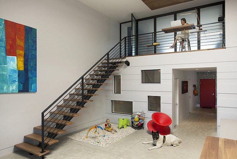 Two story loft with a fresh new look conceived by ZeroEnergy Design