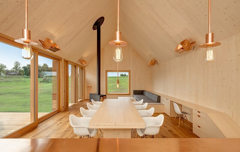 Wohnhaus aus Holz wooden-frame house heated by a geothermal heat pump (8)