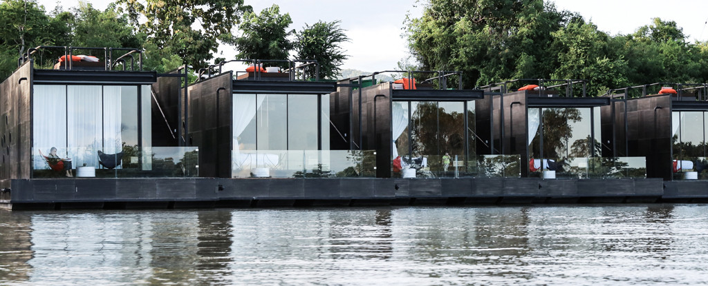 Agaligo Studio have designed a series of floating homes on the River Kwai Bridge, Thailand (2)