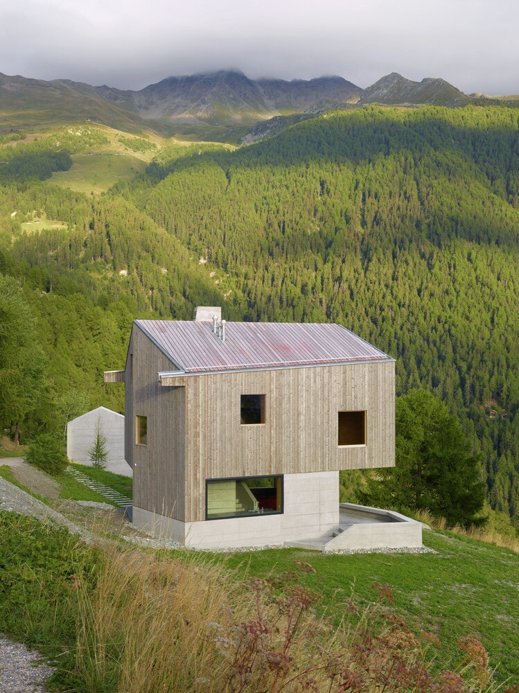 Concrete Hut Covered with Wood Cladding in the Val d'Hérens (10)