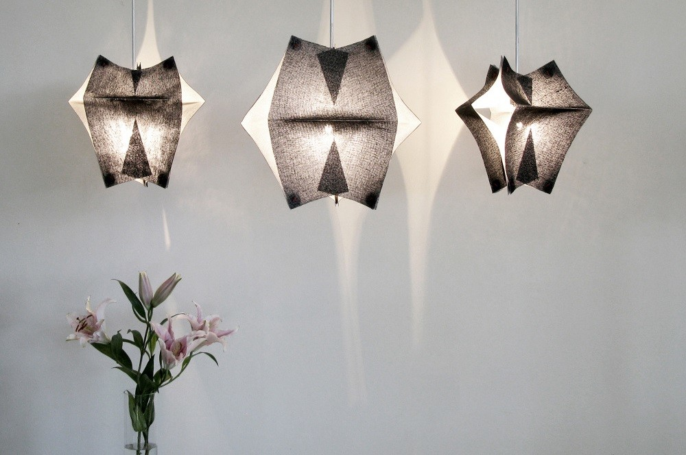 Lighting Fixtures Made of Buckram Fabric – Se'Paar by Taeg Nishimoto