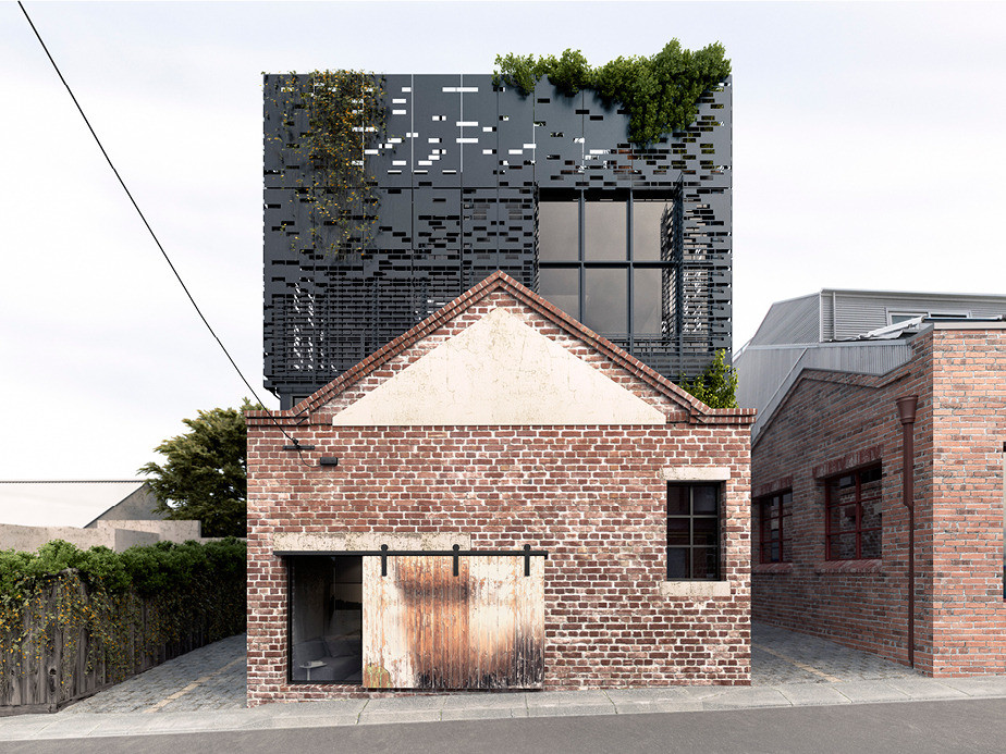 These warehouse homes have a original metal brick facade for Warehouse style house plans