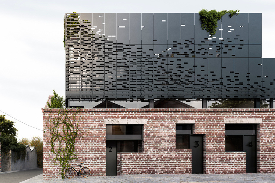 These warehouse homes have a original metal brick facade Architecture home facade
