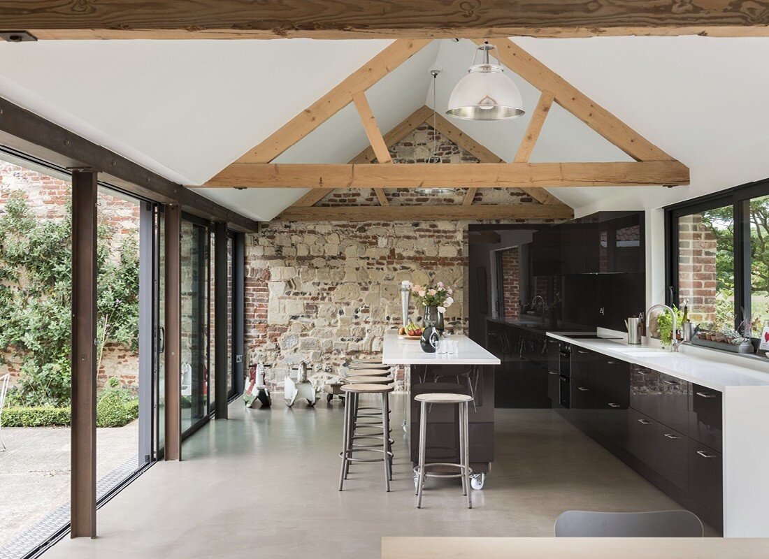 Kitchen Design With Breakfast Bar Contemporary Barn Conversion Abbey Hall In The