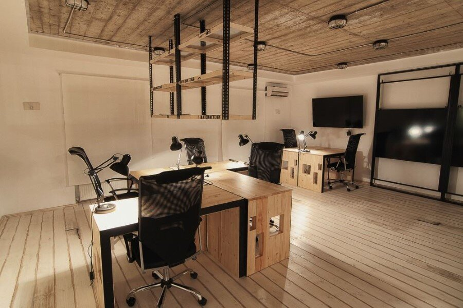 It office industrial style interiors designed by ezzo design for Office design instagram
