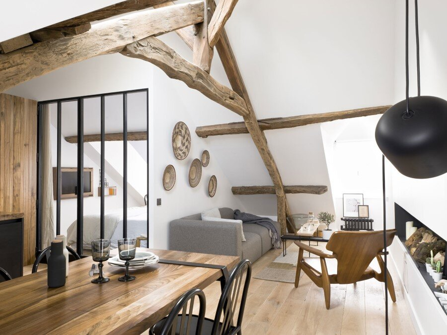 Saint Paul Apartment – 18th-Century Paris Loft Renovated with Eclectic Charm
