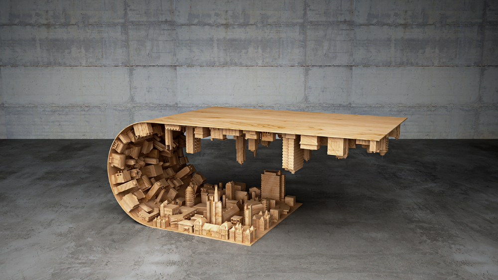 Wave City Coffee Table Inspired by the 2010 Movie Inception