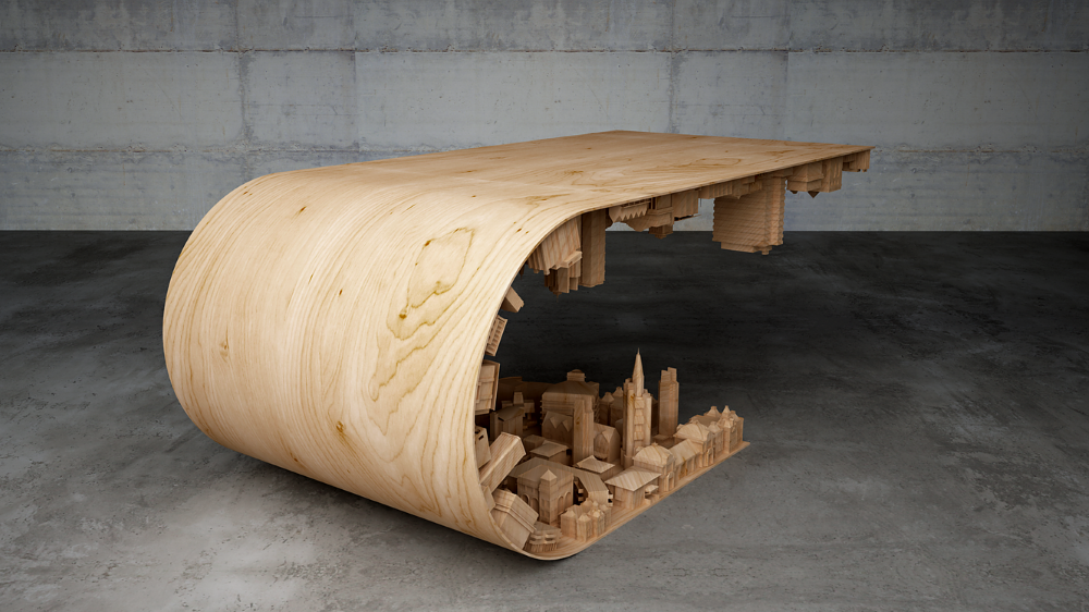 Wave City Coffee Table Inspired by the Movie Inception (4)