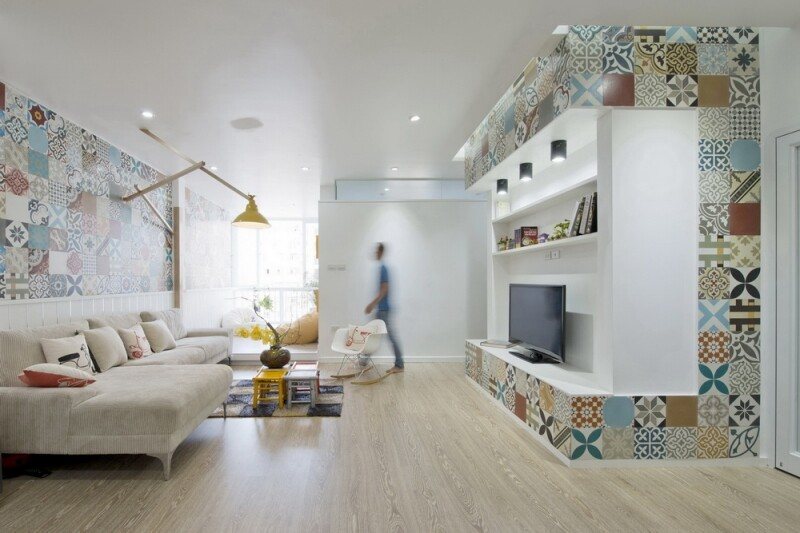 Ceramic Tiles Used for Artistic Interior Space - HT Apartment in Vietnam