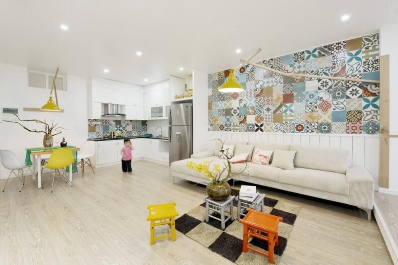 Ceramic tiles used for artistic interior space ht for Interior design in vietnam