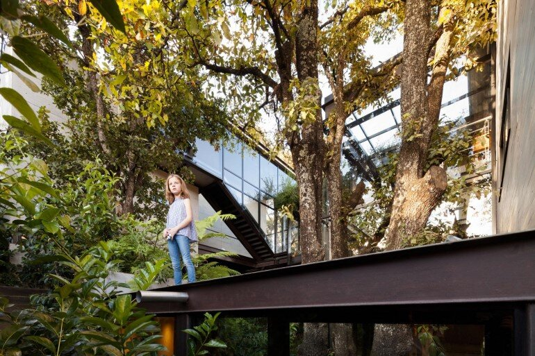 This Forest House Consists of Two Volumes Connected by Metal Bridges (22)
