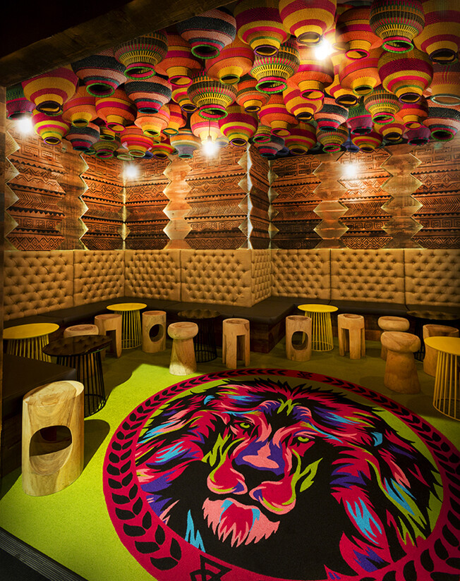 Glamp cocktail bar was designed in african style by studio