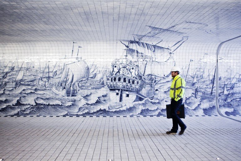 The Cuyperspassage at Amsterdam's Central Station is Decorated with 80,000 Hand-Painted Tiles