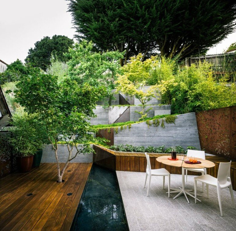 Zen Outdoor Living Space: Hilgard Garden