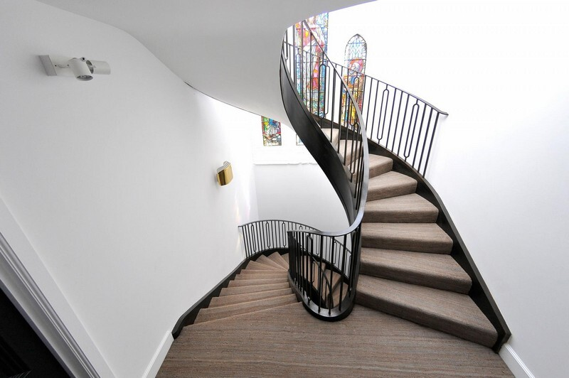 Cantilevered Helical Staircase with Gun Metal Finish (6)