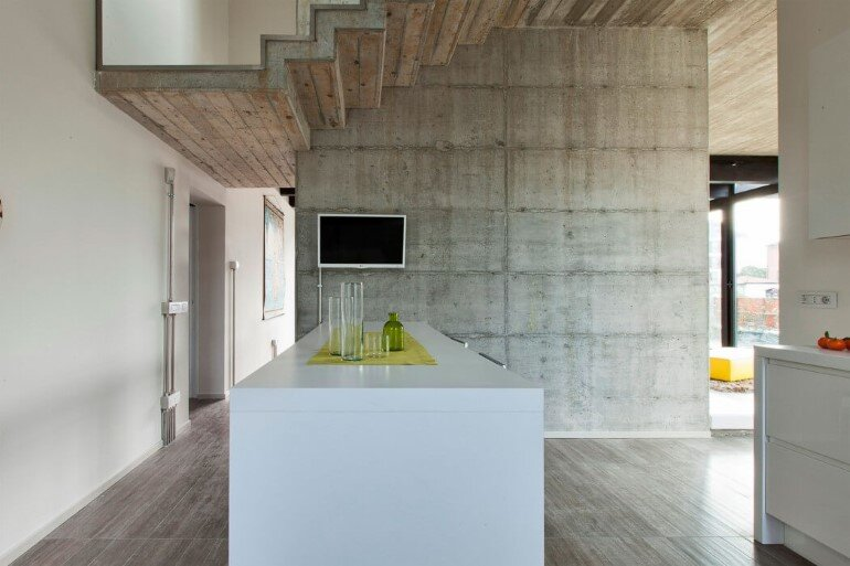 Modern Concrete Block House with Wooden Patio Attached (10)