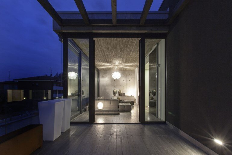 Modern Concrete Block House with Wooden Patio Attached (2)