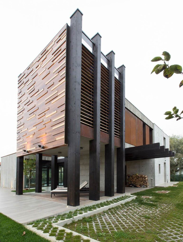 Modern Concrete Block House with Wooden Patio Attached (6)