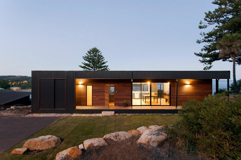Prefab beach house with green roof archiblox for Beach house designs tasmania