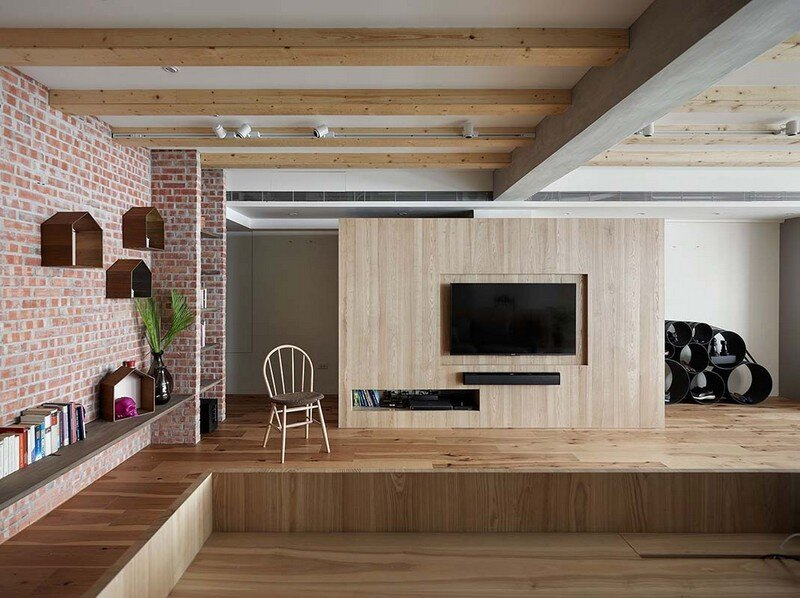 Taipei Open Flat - Wood Beams, Redbrick, and Concrete for a German Lifestyle 1