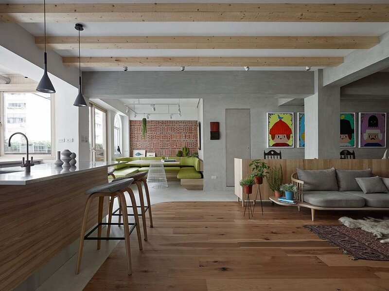 Taipei Open Flat - Wood Beams, Redbrick, and Concrete for a German Lifestyle 4