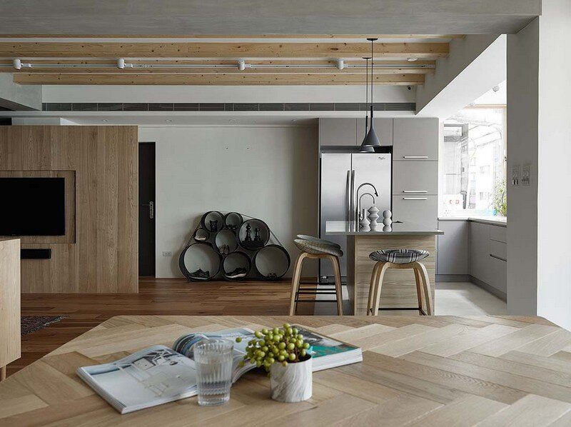 Taipei Open Flat - Wood Beams, Redbrick, and Concrete for a German Lifestyle 5