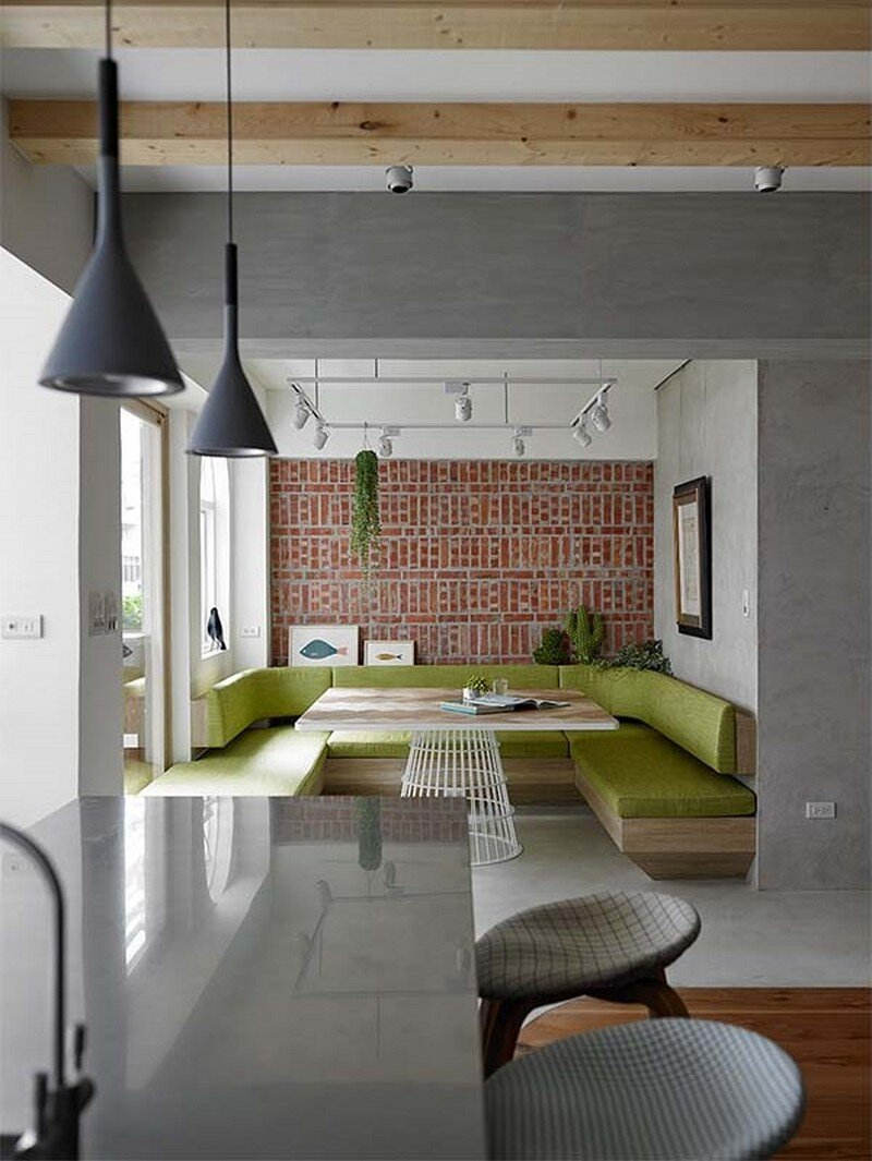Taipei Open Flat - Wood Beams, Redbrick, and Concrete for a German Lifestyle 7